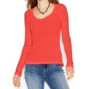 Lucky Brand Ginny Lace Thermal Scoop Neck Top